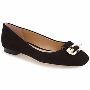 MICHAEL KORS Gloria Ballet Flat Suede Black Shoes